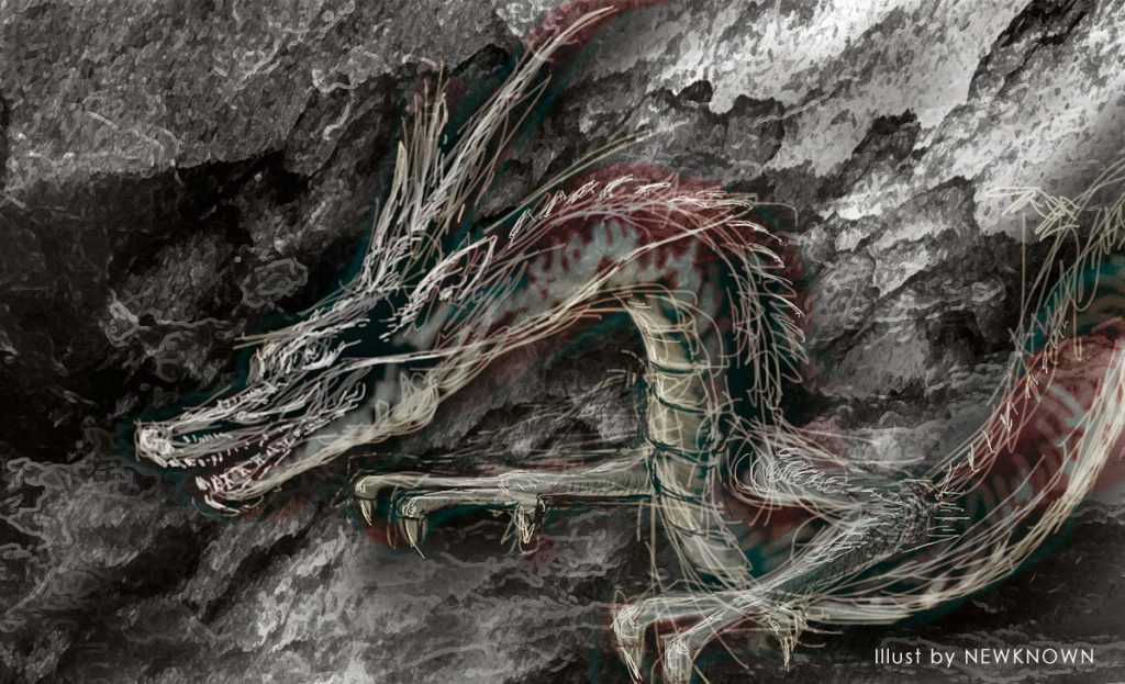 龍のイラストラフと背景の合成